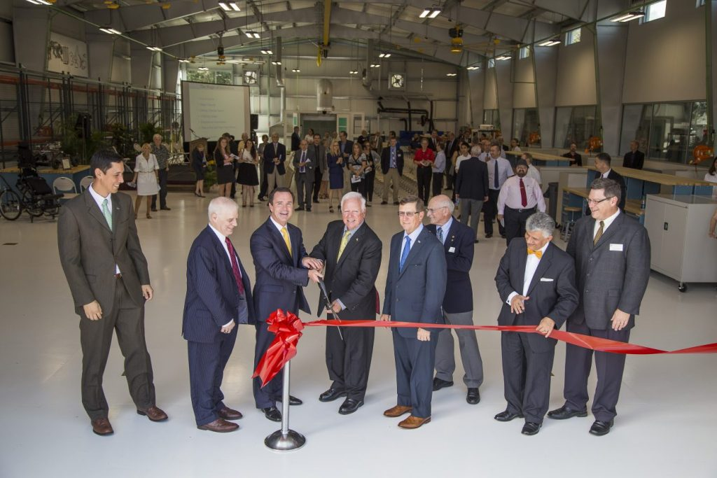 Florida Tech opened the Harris Student Design Center on Friday, Nov. 20. Pictured from left to right are: Greg Tsark, vice president for facilities operations; Alton Romig Jr., executive officer, National Academy of Engineering; Bill Brown, Harris Corp. chairman, president and CEO; Anthony Catanese; Florida Tech president and CEO; T. Dwayne McCay, Florida Tech executive vice president and COO; Martin Glicksman, dean, College of Engineering; Hamid Rassoul, dean, College of Science; and Pierre Larochelle, associate dean, College of Engineering.