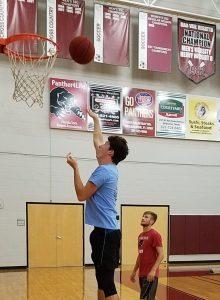 Austin Anderson and Lee Schmidt practicing for intramurals